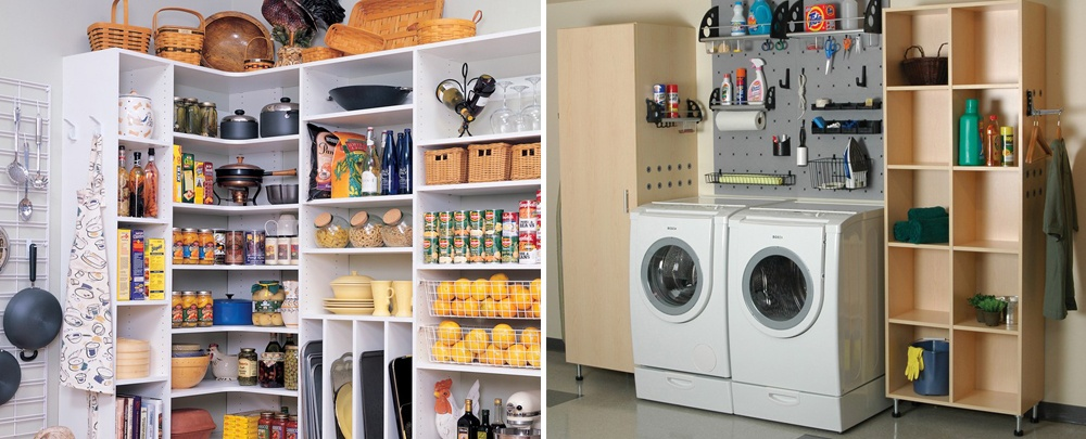 Kitchen Pantry and Laundry in garage images.