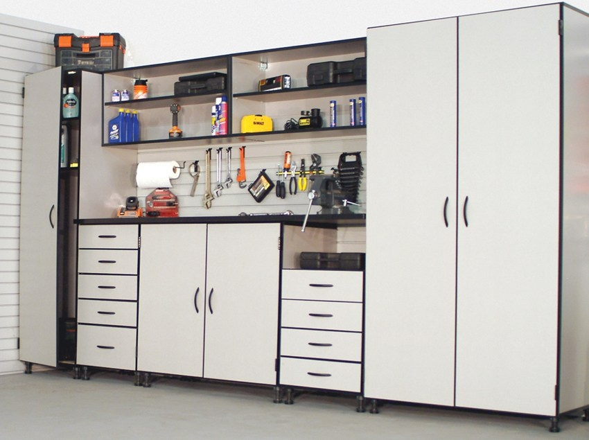 Garage storage. Garages can store more than your car and you can also create a small office space.