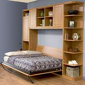side-pull Murphy bed in open position