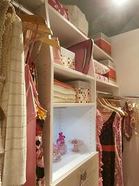 child's closet with shelves and clothing racks
