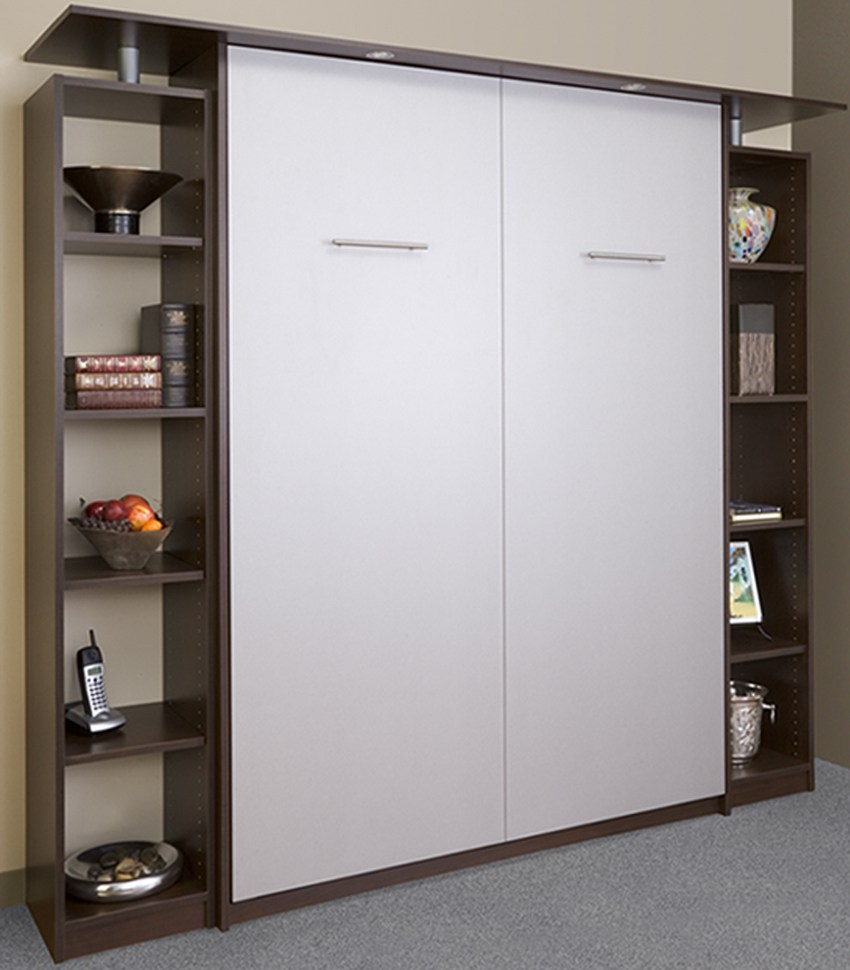 A Murphy bed can have shelves as a part of the unit for extra storage.