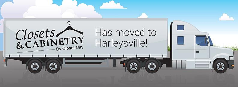 Moving-Truck-with banner og Closets and Cabinetry Logo and moved to Harleysville announcement