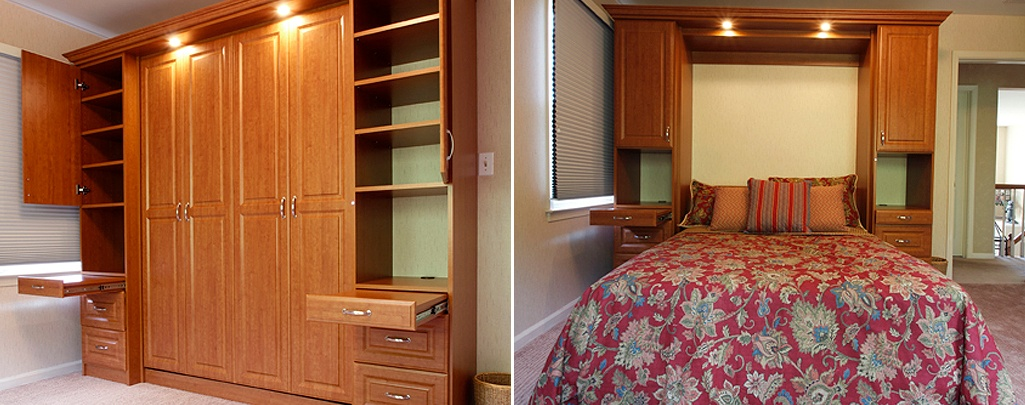 Murphy bed in closed and open positions