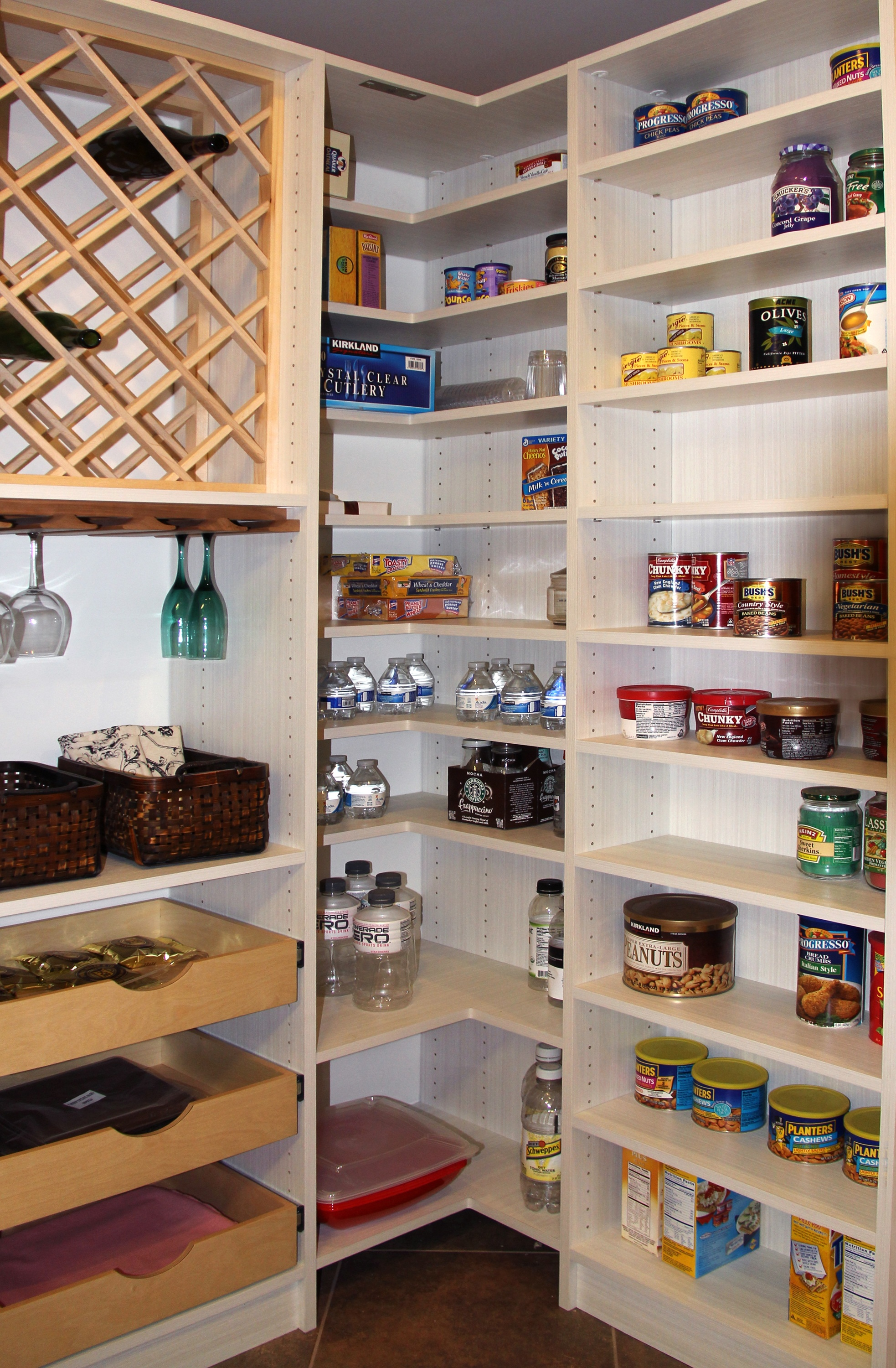 Pantry Corner with Wine Shelves