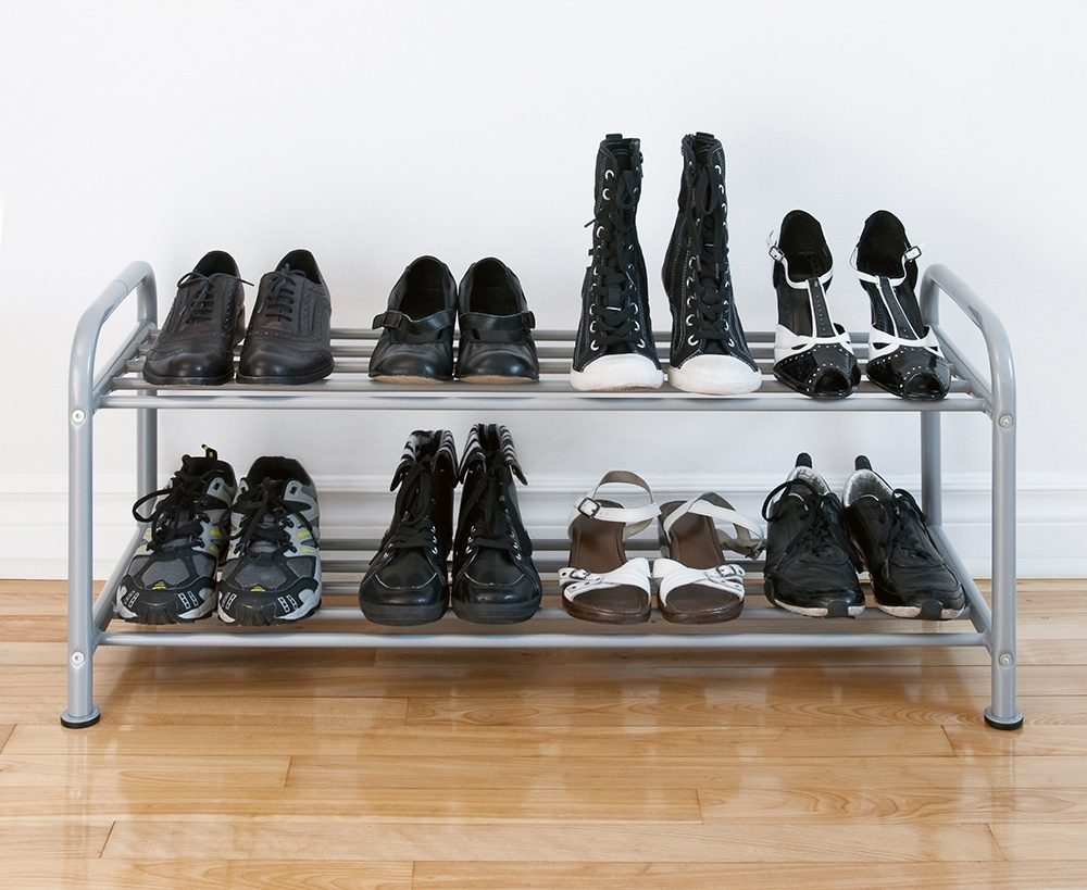 Keep all low hanging items on one side of your closet so you can add items such as a shoe rack.
