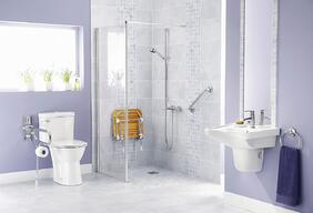 To make bathroom safer for seniors install grab bars and a shower seat.