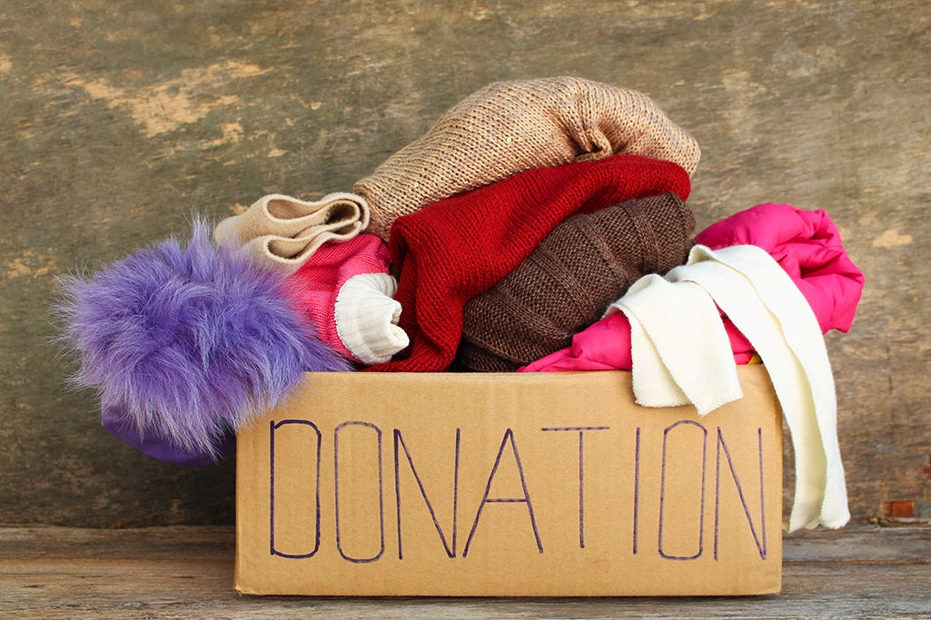 A box of clothing for donation